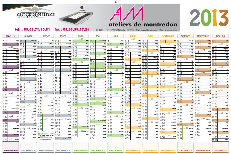 Calendrier 2013 des Ateliers de Montredon