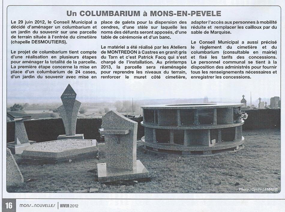 Un columbarium à Mons-en-Pevele